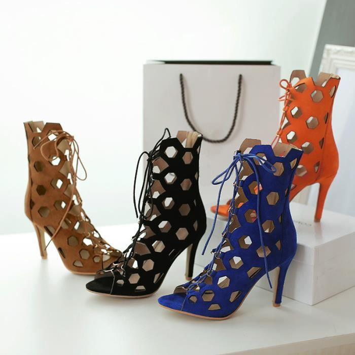 Femme Bottes Fraîches Chaussures Romaines Noir