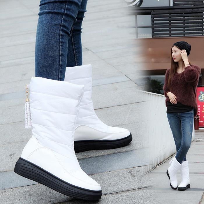 Plat Chaussures Femmes Bottes Hiver Genou pansy Coton Bottes blanc Talons Chaud Neige De zwqn0ZAXqf