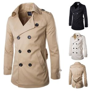 Imperméable - Trench Trench Coat Mode Hommes Manteau solide double mame