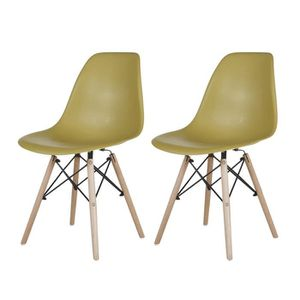 CHAISE 2 X Chaise Jambes en bois Verte Olive Comfortable