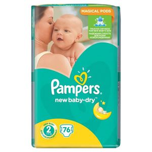 COUCHE 76 PAMPERS couches New Baby-Dry Taille 2 - 3 à 6 k