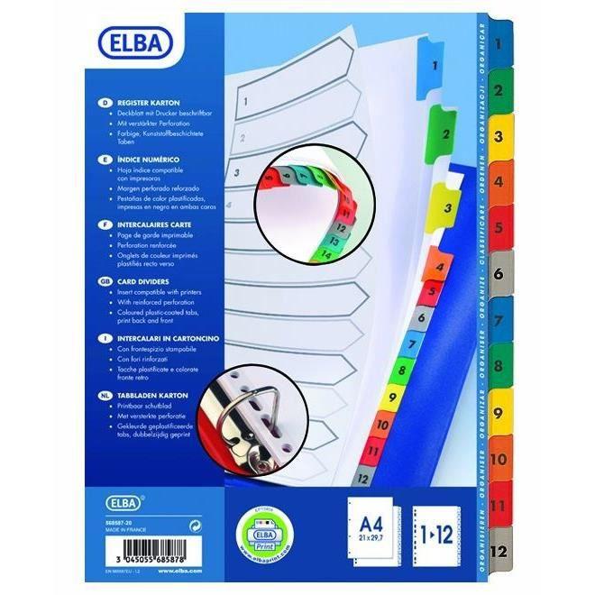 Elba paquet de 12 intercalaires numériques a4 carte colorée strongline