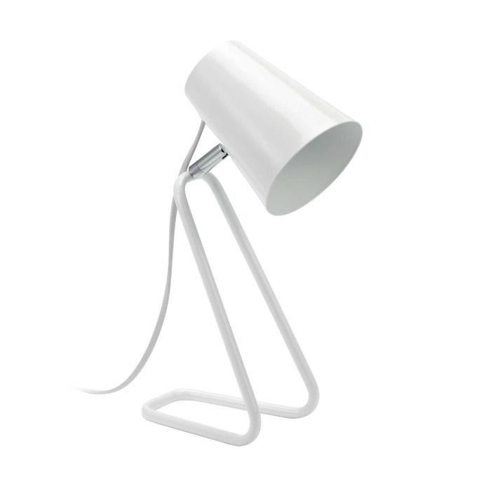 MATHIAS Lampe BUSY - Pied en fer laqué blanc - H 32,5 x P 18 cm