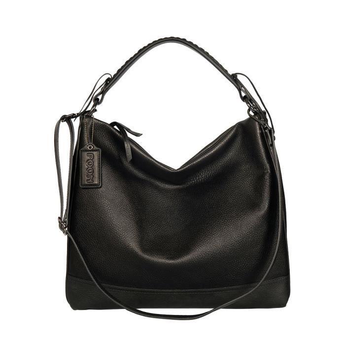 d6585633a0 POON Femmes Sac à main et sac en bandoulière en cuir Noir ...