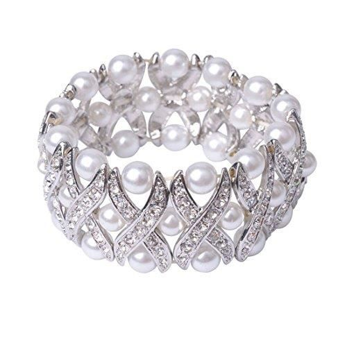 Womens Three Layer Off-white Faux Pearl Stretch Bracelet With Crystals X Design - Cream Formal Wed JFXMY