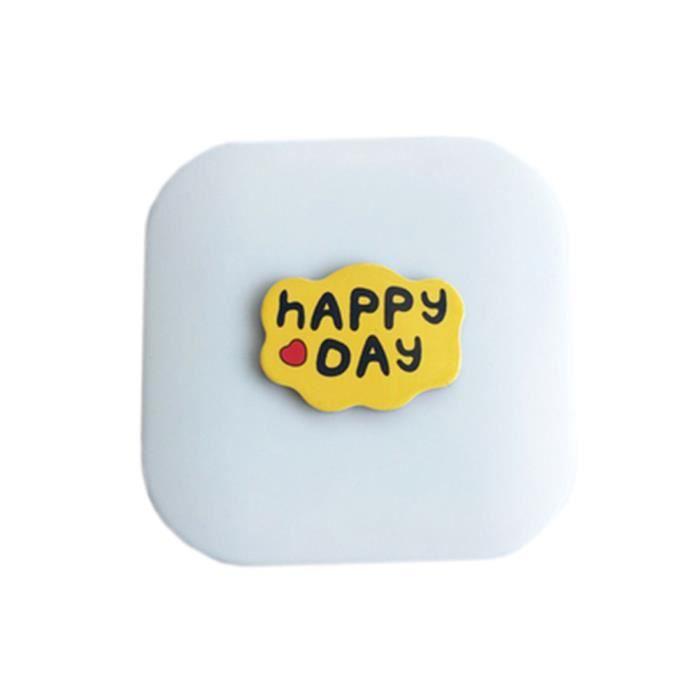 Mignon motif de bande dessinée créatif Étui à lentilles de contact pour le soin des lentilles, Happy Day (6.1x6.1cm)