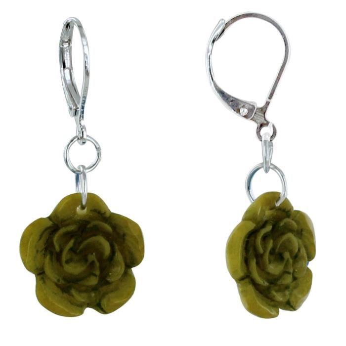 Les Poulettes Bijoux - Boucles dOreilles Rose en Tagua - Vert