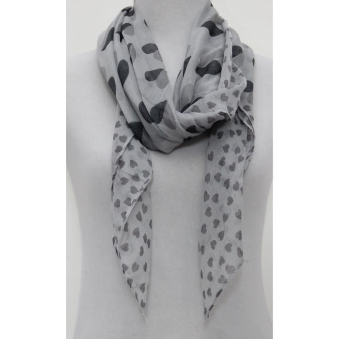 Foulard femme imprimé coeurs gris noir et blanc Gris - Achat   Vente ... 759910a8d26