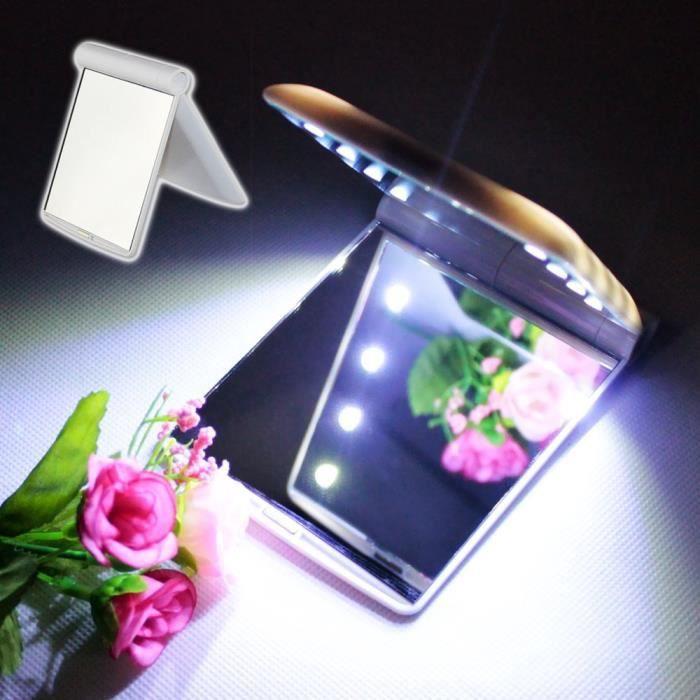 maquillage miroir de maquillage avec 8 led blanche achat vente miroir de poche maquillage. Black Bedroom Furniture Sets. Home Design Ideas