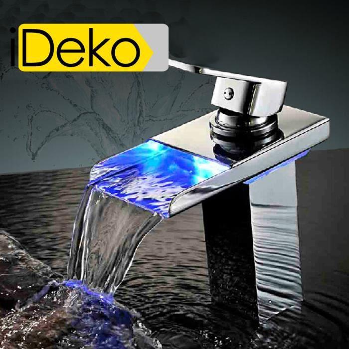 IDeko® Robinet Mitigeur lavabo cascade LED 3 coule - Achat / Vente ...