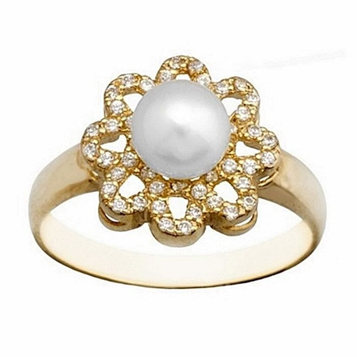 Bague or 18k culture 6mm perle. Pétales de fleurs 8 [7175]