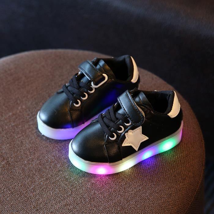 Enfants LED lumières chaussures garçons et filles coloré lumière émettant des chaussures LED flash anti-dérapant lumières chaussures 27QH0gl