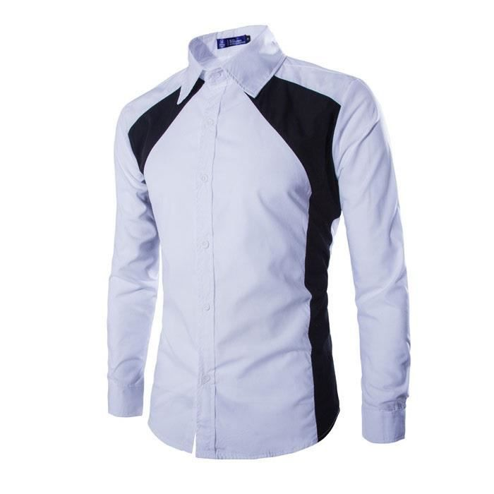 Col Longue Taille Chemise Grande Manches Jointif Homme Blanc Mode HxSq68