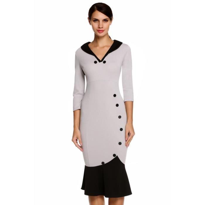 Robe de soirée femme élégantes décontractée O-cou à manches 3/4 en Patchwork