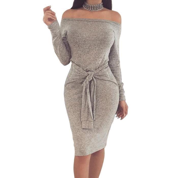 309f386194ec Femme Robe Tricot Sexy épaules Nus Lâche Manches Longues Mini Pull Robe  avec Ceinture Mini Dress de Soirée