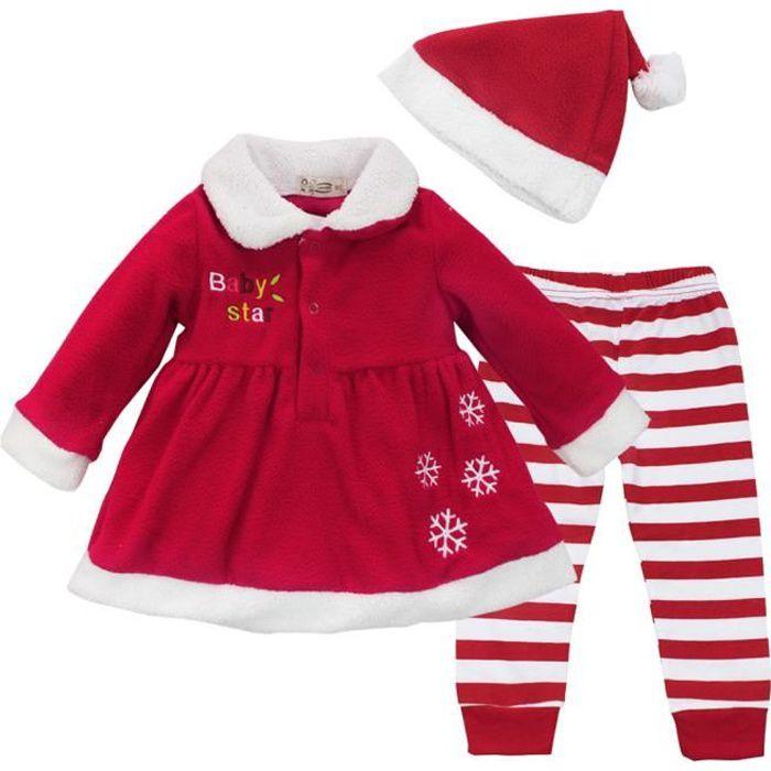 17a2382509459 Robe Noël Bébé Fille ensemble - Déguisement père Noël bonnet de Noël Soirée  Anniversaire rouge fête- de 9 à 24 Mois