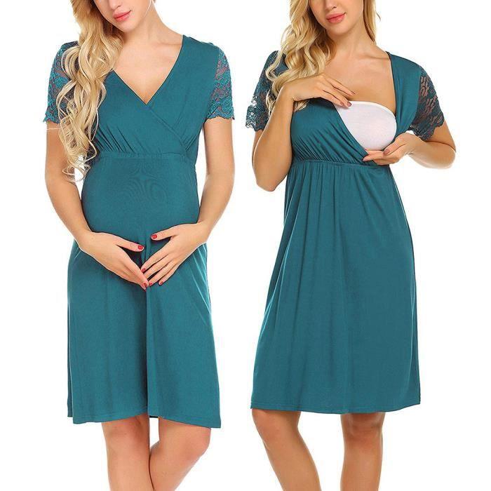 Soins Grossesse Enceintes Maternité Infirmiers Nightgown Vert Robe Dentelle De En Splice Femmes CBxoerd