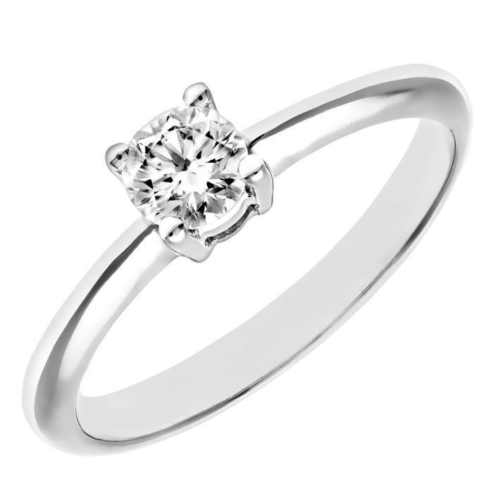 Revoni Bague Solitaire Diamant Or Blanc 750° Femme: Poids du diamant : 0.36 ct - CD-PR04968W-036FSI2-N
