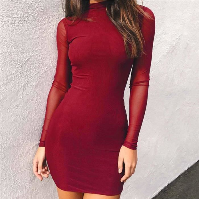Les femmes à manches longues moulante Mini-robe, vin rouge