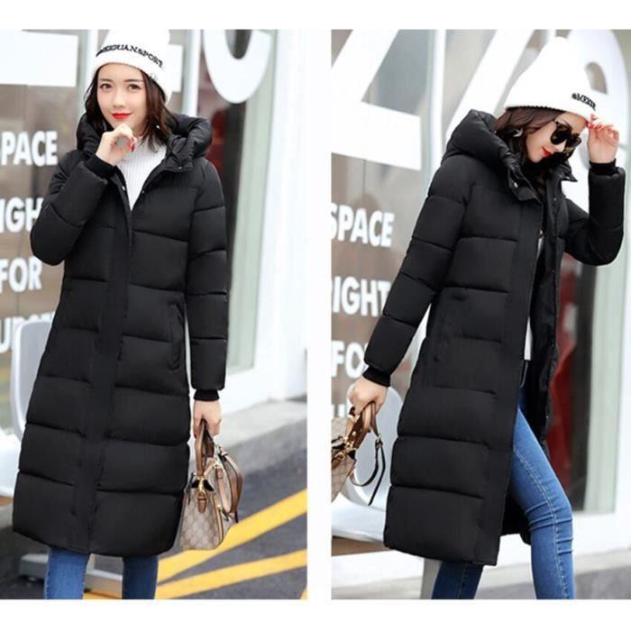 Blouson Taille Doudoune vert Couleur Hiver Nouveau Grande Longue Milieu Épaissir noir Unie Femme Manteau Capuche Slim Gris qpBwORvwxn