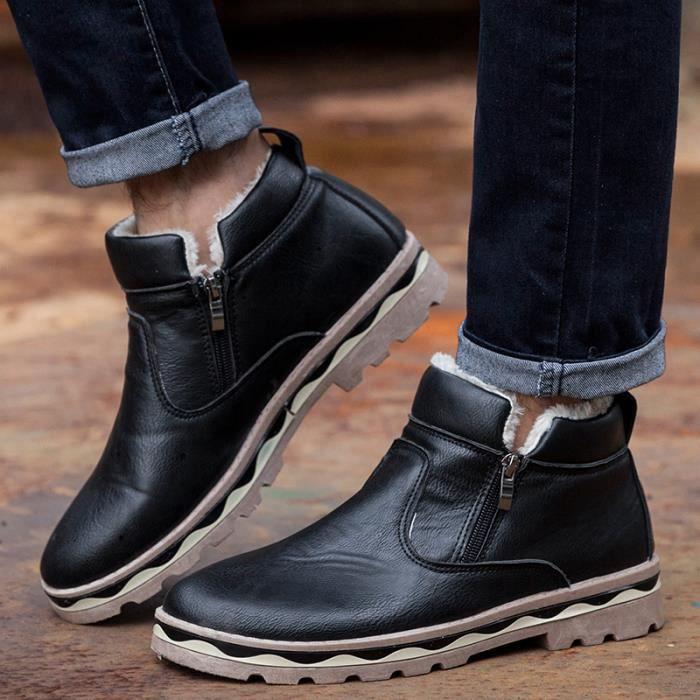 D'hiver Chaud Hommes Chaussures Bottes Brown En Coton qwfBHFnZf