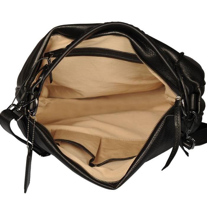cc64ff92e9 ... POON Femmes Sac à main et sac en bandoulière en cuir Noir