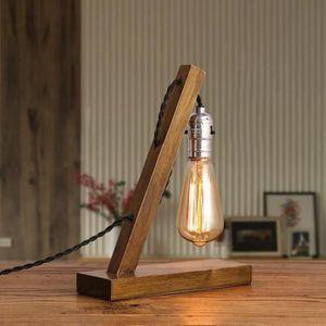 LAMPE A POSER lampe a poser E27 Edison vintage bois Y03950