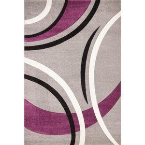 TAPIS NAZAR Tapis de salon Havanna gris, violet, noir et