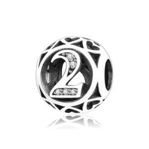 """Charm's Charmes Numéros - Argent 925 et Crystal Numéros """"2"""