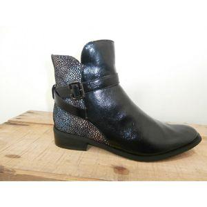 0c4aca50538f15 Boots cuir vernis noir - Achat / Vente pas cher