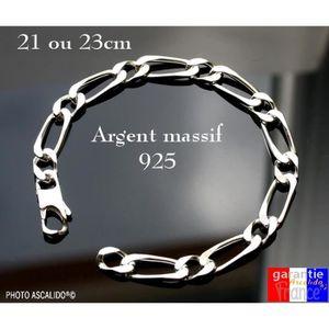 BRACELET - GOURMETTE Gros bracelet épais pour homme en argent 925 massi a89f0e73051