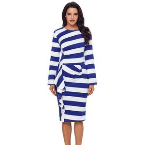 4dd3792ab7e ROBE Robes Rayures Femme à Volants Manches Longues Robe