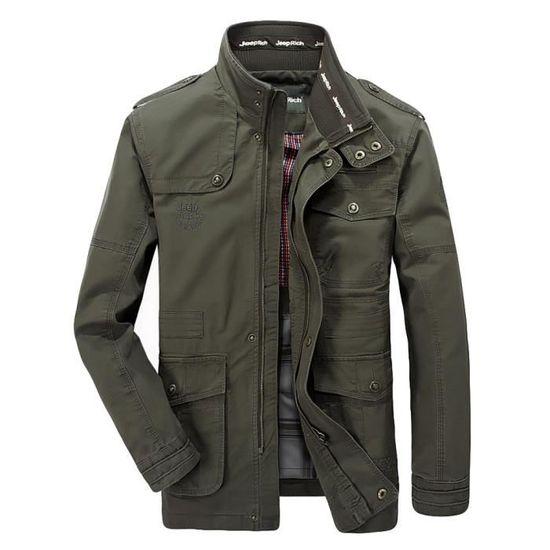 Moyenne Mode Armée Verte Veste Hiver Longues Longueur Manches Automne De Hommes pocket Multi Manteau 745wTcqYw