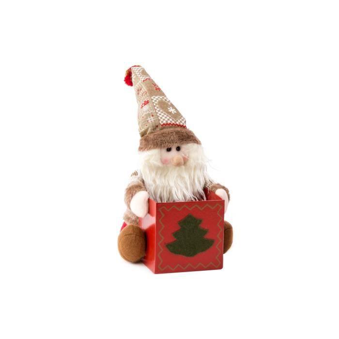 Personnage de Noël : Père Noël en tissu 23 cm