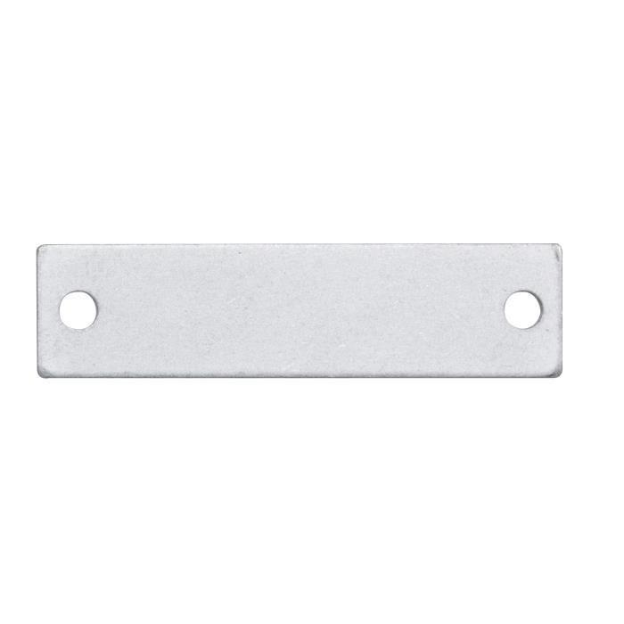 Plaques à graver rectangulaires - 9x35 mm - En métal - couleur aluminium - avec 2 trousSUPPORT BIJOUX - SUPPORT BAGUE - BARRETTE A CHEVEUX - BOUCLE D'OREILLE - BRACELET - BROCHE