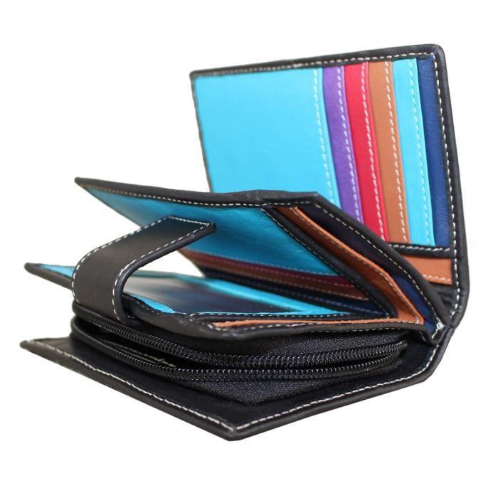 acheter en ligne 3983b 6bffd Portefeuille pour femme petit sac à main RFID noir extérieur multicolore  avec huit fentes pour cartes, un porte-monnaie zippé. Dans