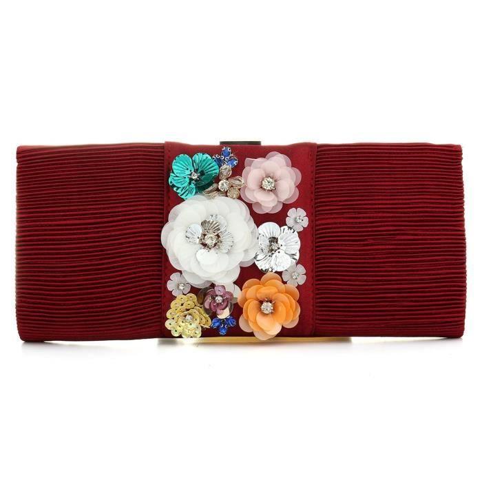 Sacs plissés Fleur soirée élégante dembrayage Floral Purse Sac à main pour les femmes SFQ9I
