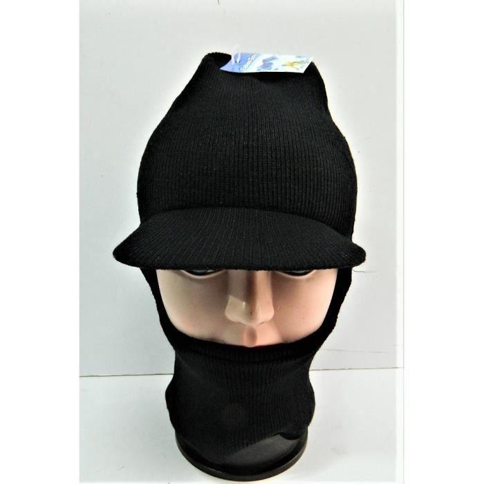 b679a4168ae9b Bonnet Cagoule Casquette noir avec visière Passe-montagne tricoté ...