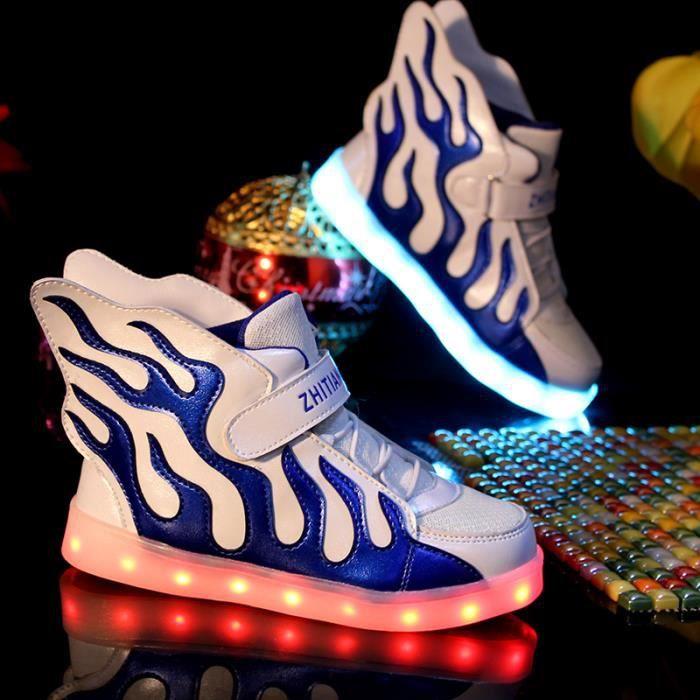 Mode enfants 7 Couleu Chaussures LED Lumineux Chaussures de Sports Baskets Garcon Fille Chaussures Sports Baskets Noir ENrLq