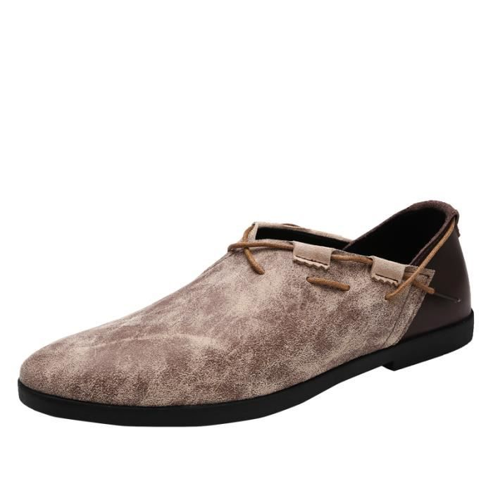 89055-Beige-44 Chaussures LuxeDécontractée Flâneurs Automne Cuir Glisser Surs Moccasins Mâle