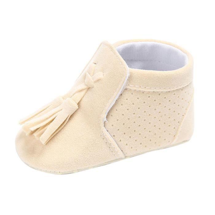 BOTTE Chaussures bébé garçon fille nouveau-né crèche chaussures à semelle souple@Beige
