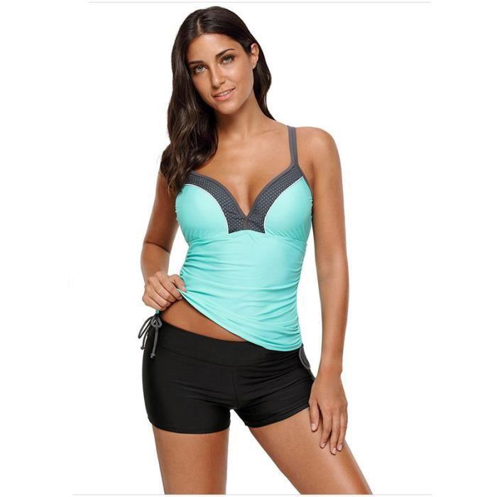 new lower prices discount shop performance sportswear Maillot de Bain Femme Tankini 2 Pièces Boxer Bretelle Reglable Bicolore