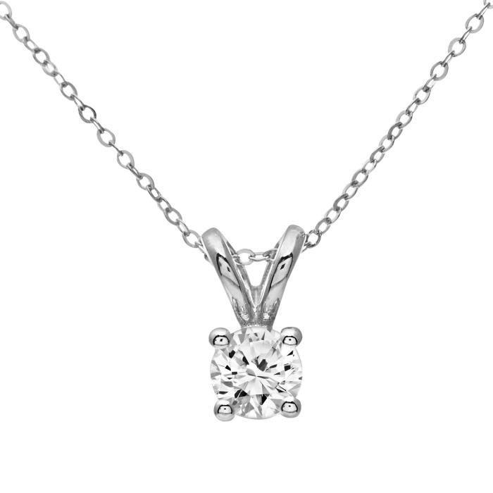 Revoni - Collier pendentif en or blanc 9 carats et diamant 0,33 carat- REVCDPP02031W