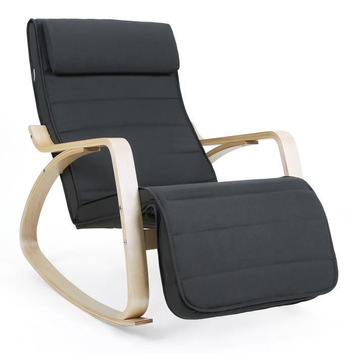 Songmics Fauteuil A Bascule Rocking Chair Avec Repose Pieds Reglable