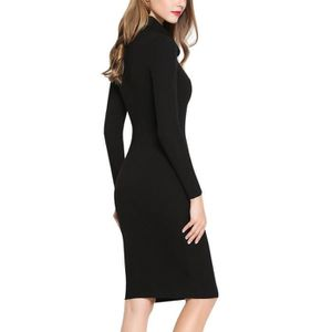 4931adf15d1 ... ROBE Cowl Neck femmes Classique Robe pull moulante stre ...