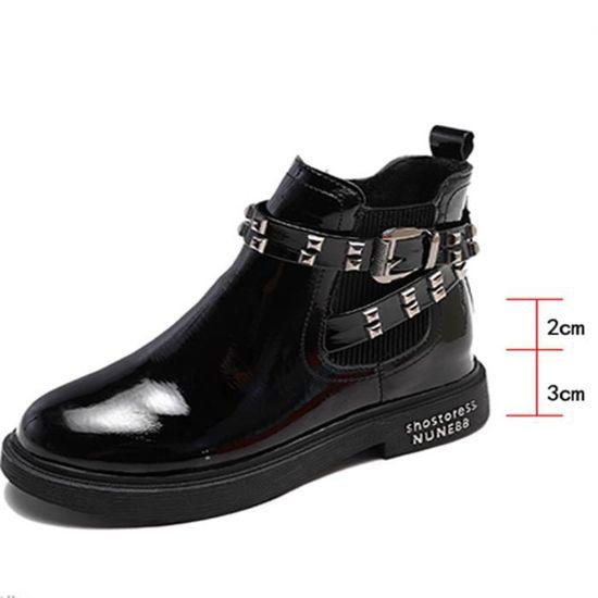 En Martin Bottes épais Gardez Chaussures Chaud Bout Femmes Boucle Rivets Talon Rond Cuir 0wkPnO
