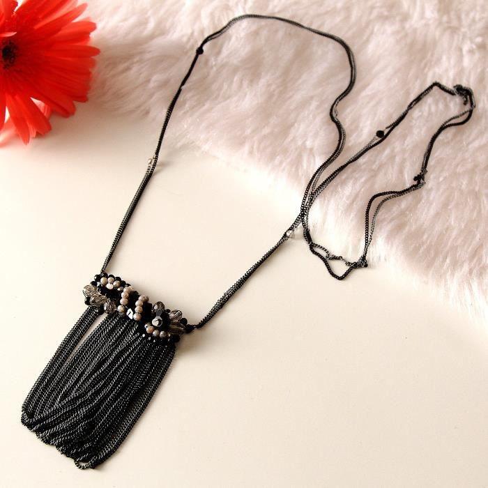 Glitzy Femmes Collier Noir Tassel Mode pour etFM4KL