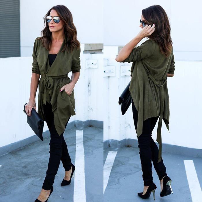 Top Outwear Xxl71013492 Casual Manteau Femmes Veste Blazer Slim Suit Verte Tops coat3433 Armée xOqnHI