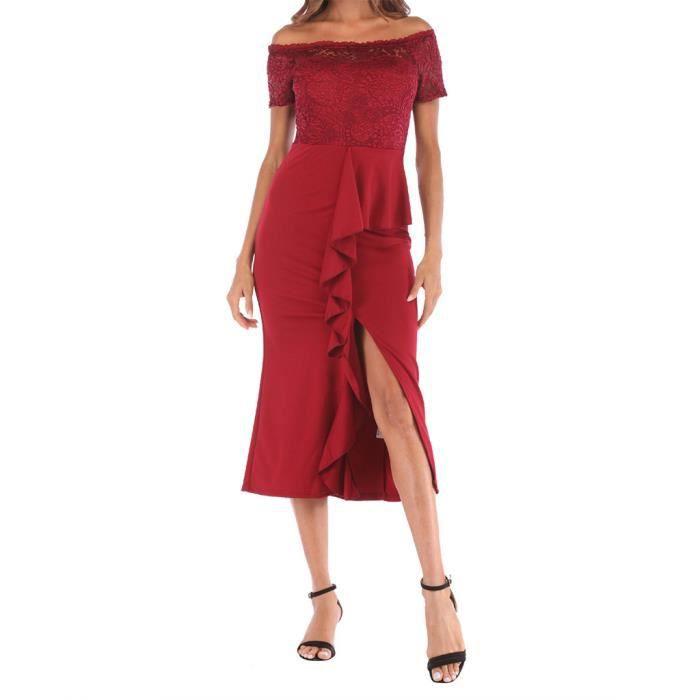 Féminine Shouder Rouge Une Casual Mode Splice Longue Épaule Dentelle Off Robe Fluc3JTK15