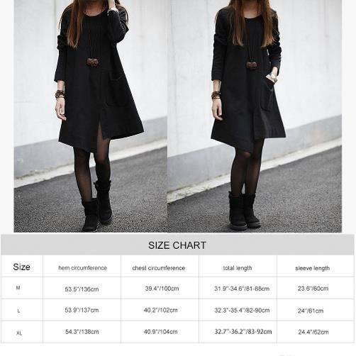 Casual Robe manches longues, noir